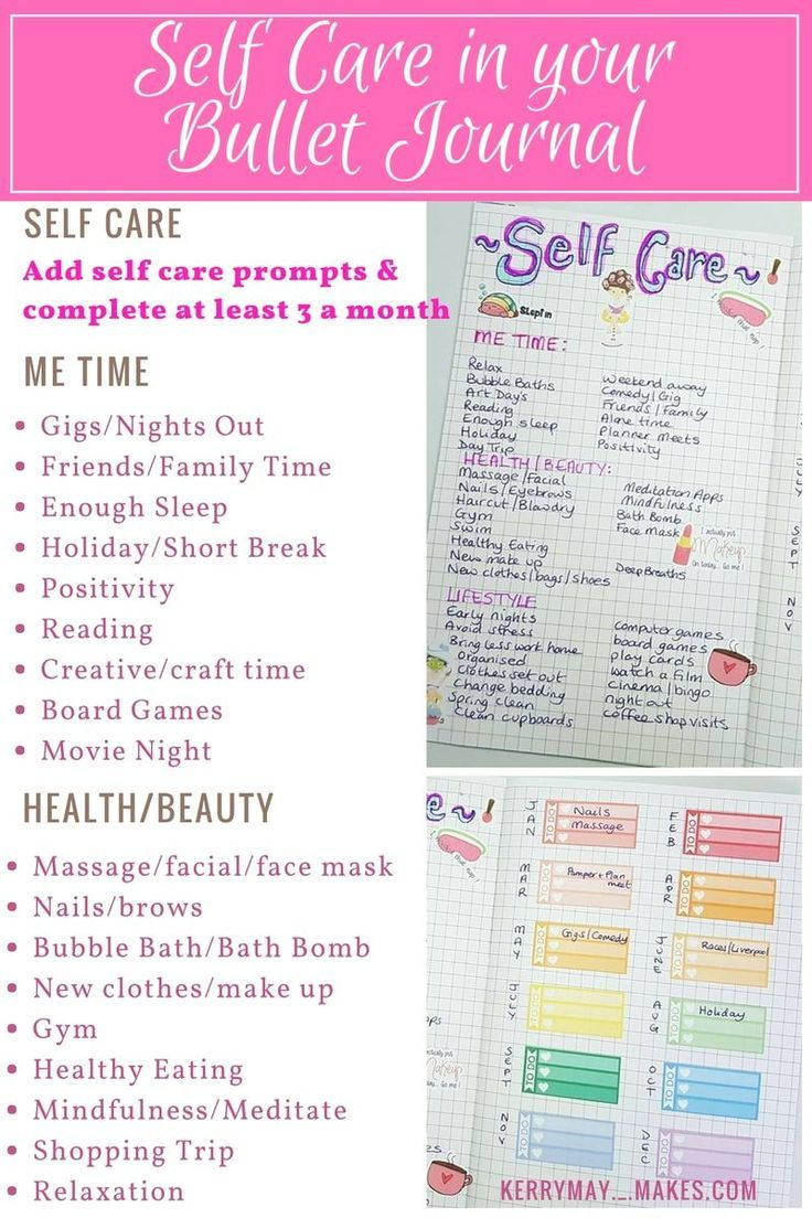 Bujo self care spread ideas in my Bullet Journal to help remind me to make time for at least 3 self care things for myself a month - Kerrymay._.Makes #bulletjournal #selfcare #bujoselfcare