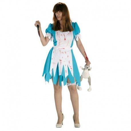 Disfraces Halloween mujer | Disfraz de Alicia sangrienta. Horripilante modelo de niña sangrienta para asustar a todo el vecindario. Contiene vestido con sobredelantal. Talla M. 12,95€ #alicia #aliciasangrienta #disfrazalicia #disfraz #halloween #disfrazhalloween #disfraces