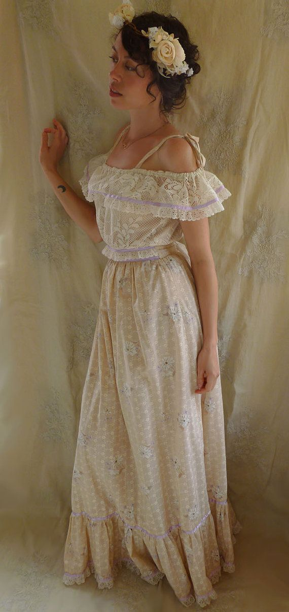 Vintage prairie dress size small gown boho hippie for Boho country wedding dress
