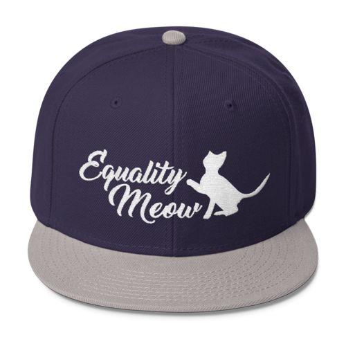 Equality Meow - Feminism Wool Blend Snapback Hat Feminist Pro-Feminism  Apparel Style Clothing Gift for Women Girls Teens  b8b4242b1e5d