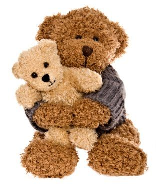Brown teddy bear with sweater holding baby white teddy bear. Follow RUSHWORLD. We're on the hunt for everything you love.