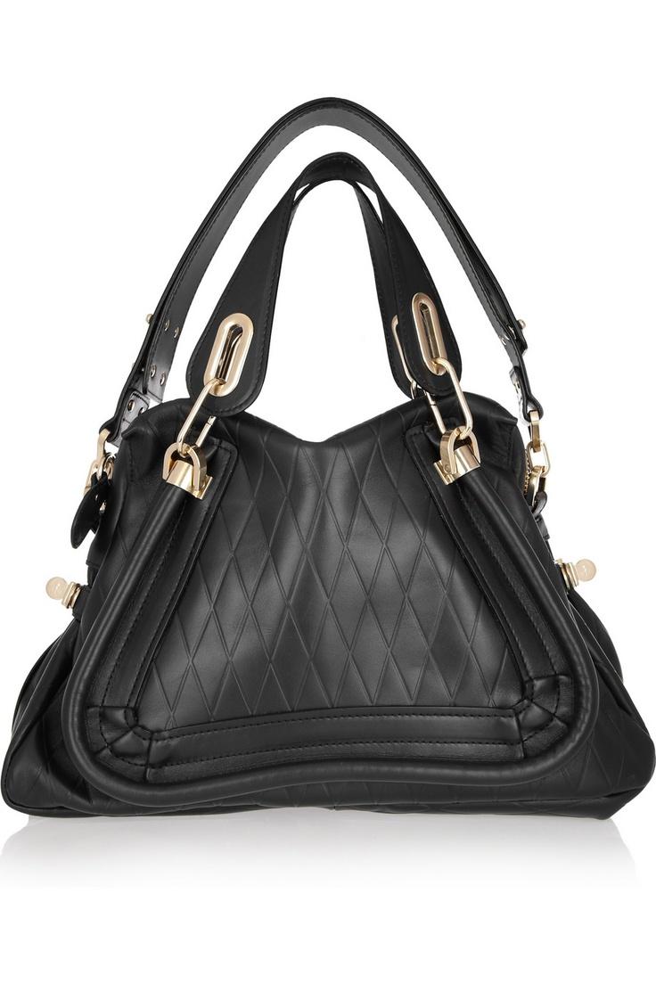 Chlo¨¦ | Paraty Medium diamond-embossed leather shoulder bag | NET ...