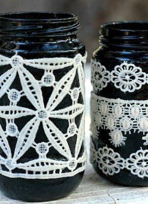 DIY - Black lace jar vases via Mod Podge Rocks