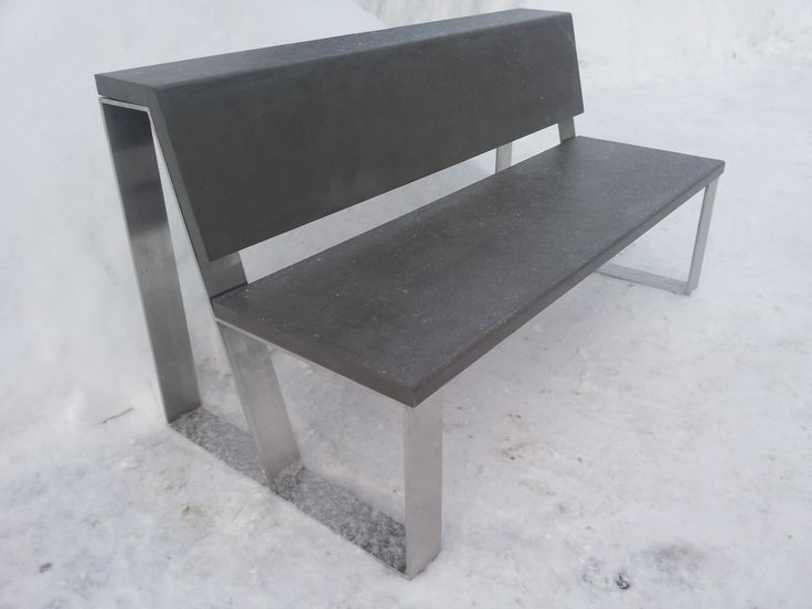 IMP has released a new product - a bench made ​​of stainless steel and microconcrete . This product can be used both outdoors and indoors . By the end of the summer we will see how the furniture is being operated on the street under the snow, rain , sun ... If the material used will justify itself ( not crack , does not change color and so forth . ) , Then proceed to develop street furniture for sale .