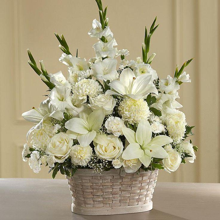 Peaceful Passage™ Arrangement White flower arrangements