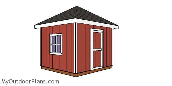 10x10 Shed With A Hip Roof Plans Myoutdoorplans Free Woodworking Plans And Projects Diy Shed Wooden Playhouse Pergola Bbq In 2020 Shed Hip Roof Diy Shed