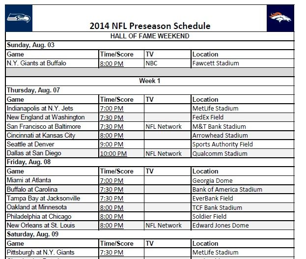2014 NFL Preseason Football Schedule