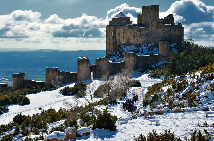 Loarre - Loarre castle. View from the main entrance. This castle is an 11th century fortress in the top of a hill, very well preserved. Situated in the north of Spain near the Pyrenees mountains in Aragon region. It is one of the best examples of military and civilian Romanesque architecture.