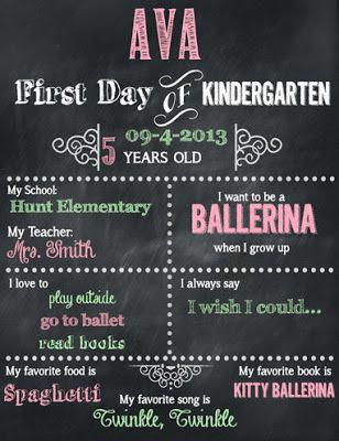 FREEBIE! FREEBIE! First Day of Kindergarten Editable & Printable