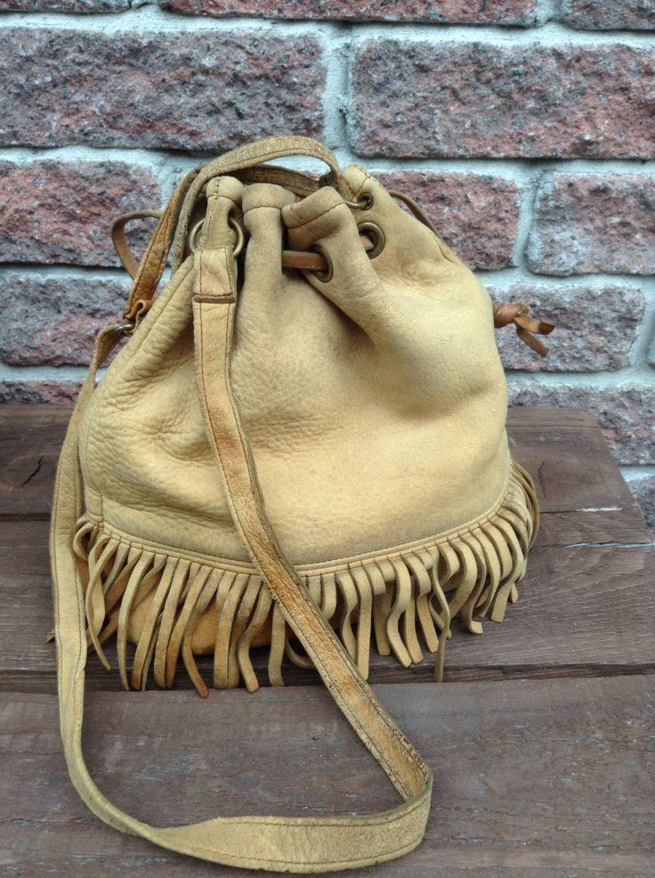 Vintage Bucket Bag, Deerskin Bag, Hobo Style Handbag With Fringe by TheForestSleeps on Etsy