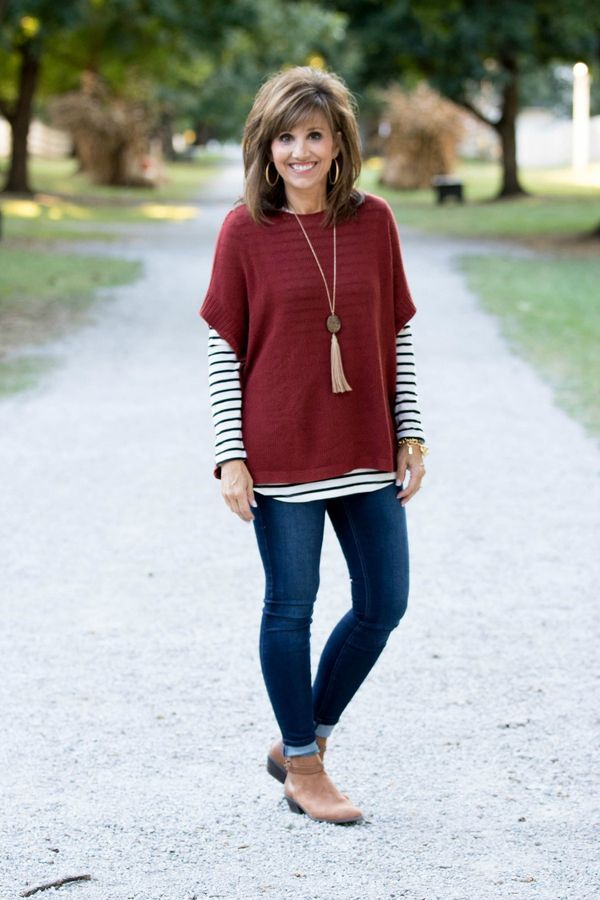 FALL FASHION-PONCHO SWEATER & STRIPE TEE