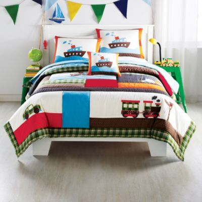 WholeHome KIDS (TM/MC) U0027Planes, Trains, Automobilesu0027 Quilt Set