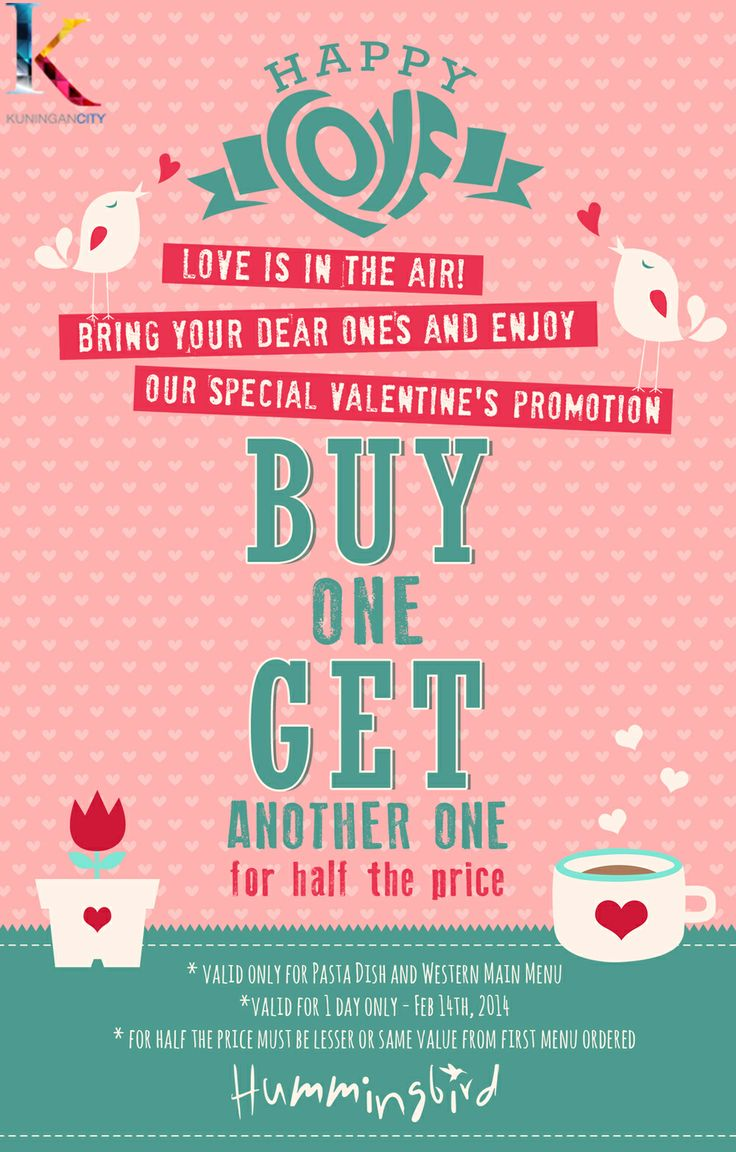 Don't forget to visit Hummingbird Eatery Tomorrow! Because it's just 1 day celebration to enjoy BUY 1 GET 1 ANOTHER FOR HALF PRICE on Western or Pasta menu