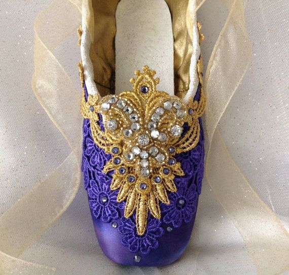 Dramatic purple and gold decorated pointe shoe. Raymonda. La Bayadere. Nikiya. Gamzetti. Sugar Plum Fairy. Nutcracker Arabian. Teacher Gift.