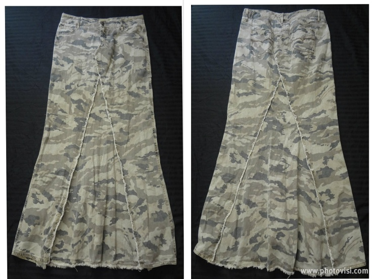 $30 Order your own Unique Custom Long camouflage khaki jean skirt  for sale!