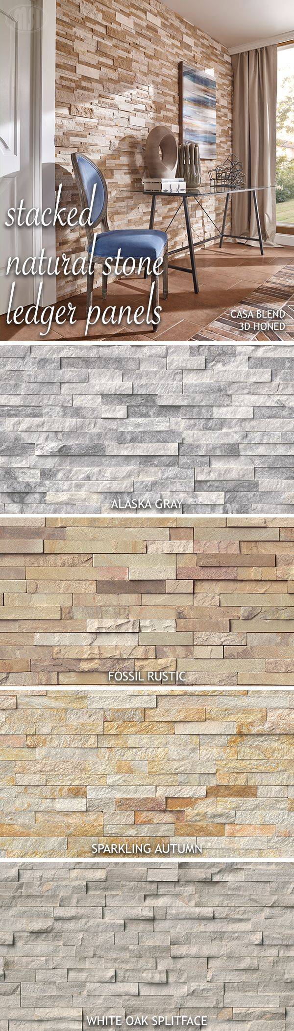 Designer faves = stacked natural stone ledger panels! Reimagine stacked stone inside your home and transform an ordinary wall into a stunning feature wall with one of these stylish standouts.