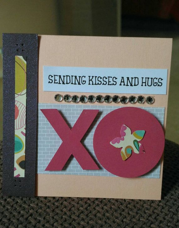XO: a cute way to say hello, thank you, Im sorry or get well.  Available with a peach or dark purple backing card.  NOTE: use coupon code TAKEOFF20