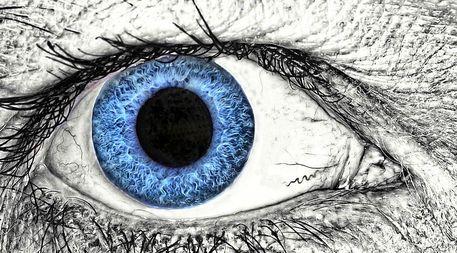 'Menschliches Auge, blau' von Heike Loos bei artflakes.com als Poster oder Kunstdruck $22.17