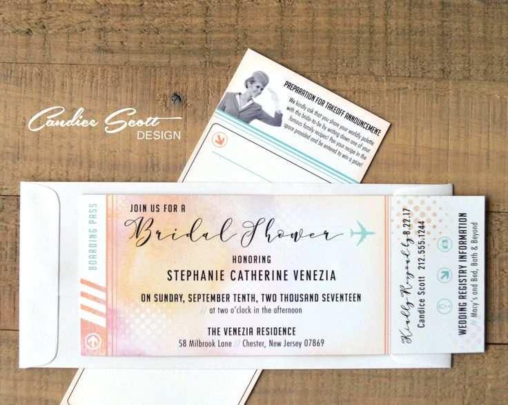 41 best Travel Themed Bridal Shower images on Pinterest Themed - airline ticket invitation