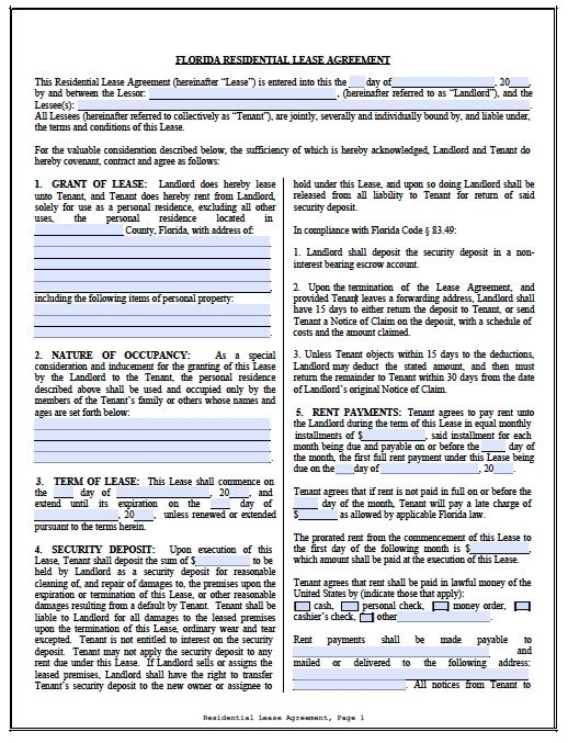Florida Residential Lease Agreement Pdf Template Lease Agreement Lease Agreement