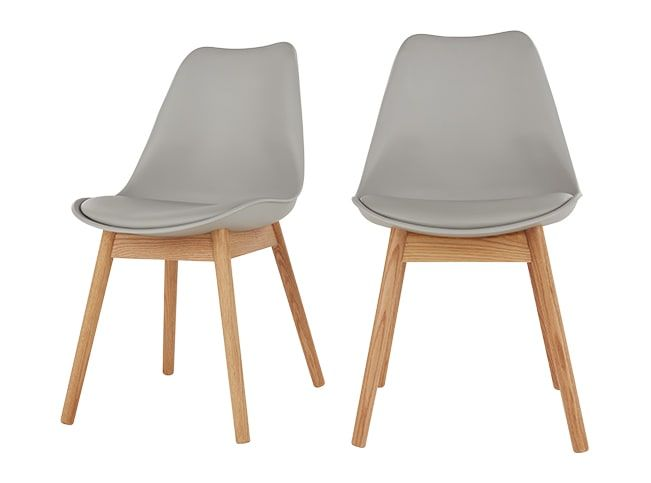 2 x Thelma Dining Chairs, Oak and Grey