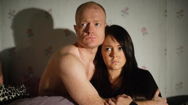 Max Branning and Stacey Slater, caught having an affair. Played Jake Wood and Lacey Turner.