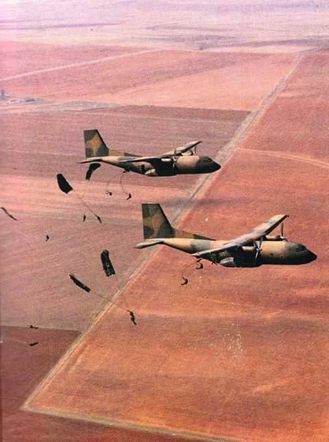 Australian commandos out of a C-130 Hercules.