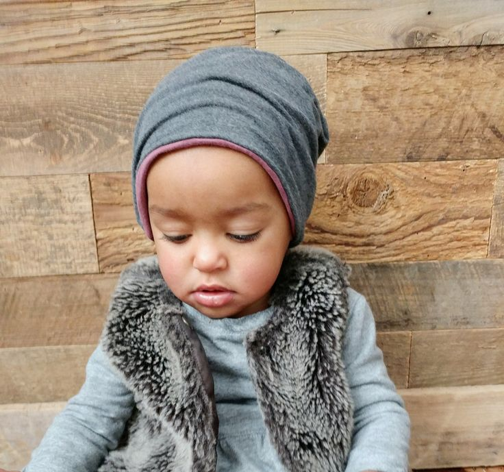 Handmade Canadian reversible bamboo slouchy hat. Children's fashion. Girls hat. Lil Slouchies
