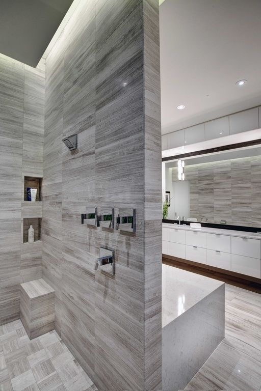 Modern Master Bathroom With Ms International White Oak 12