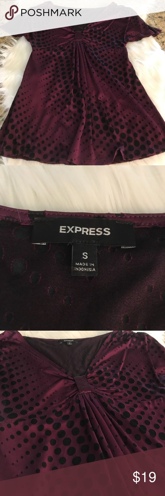 EXPRESS Size Small burgundy & black shirt. Perfect shirt for a day at the office or more dressed up to go out for happy hour! ☀️ This beautiful shirt is silky smooth as well as has a gorgeous deep purple color to it. The black part is see through so would need to be worn with a camisole underneath. I am open to alternative offers if interested! :) Express Tops Blouses