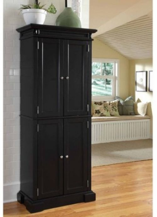 Storage Cabinet Pantry Tall 4 Door Black Wood Cupboard