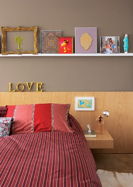 bedroom: Home Tours, Living Rooms, Floating Shelves, Warm Colors, Guest Bedrooms, Grey Wall, The 4Th, Bedrooms Shelves, Bedrooms Ideas