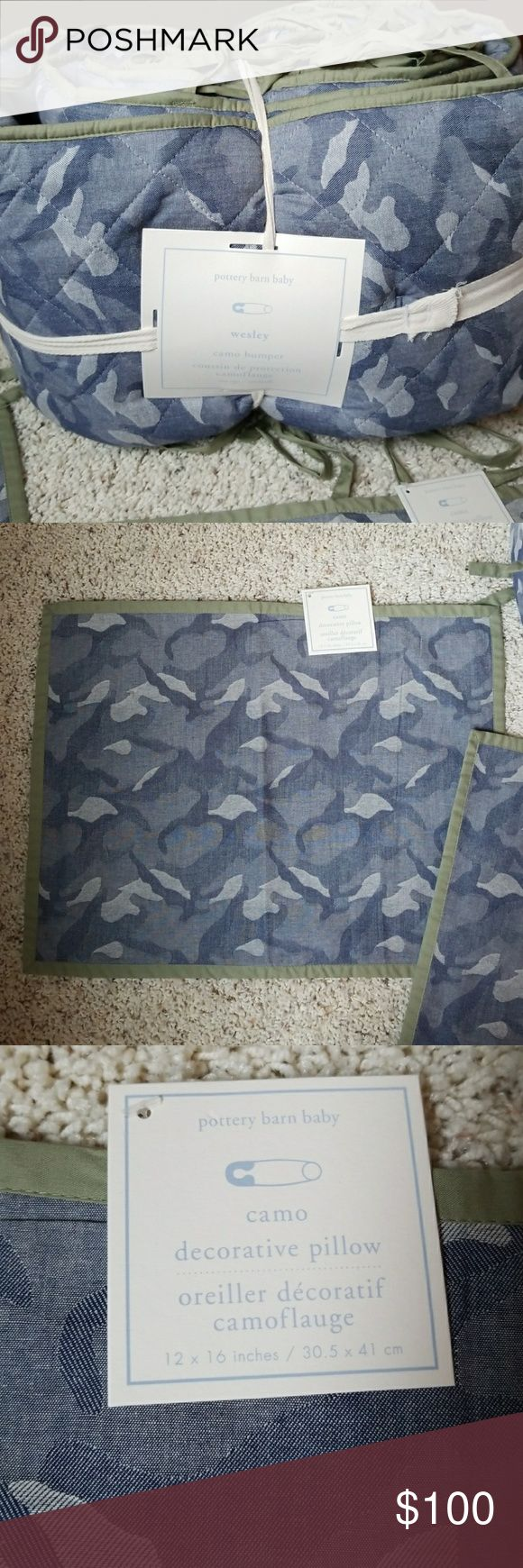 Pottery Barn Wesley Blue Camo Crib Set NEW Pottery Barn Baby Wesley  Blue Camo Crib Set  New Two decorative pillow cases One crib skirt One crib bumper One green quilt 36 x 50 inches  All new  Thanks for looking and happy shopping! Pottery Barn Other