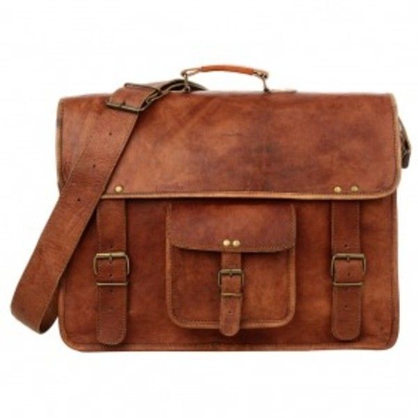 Extra Large Brown Leather Satchel - briefcase style (4,655 DOP) ❤ liked on Polyvore featuring bags, vintage satchel handbags, leather laptop bag, brown satchel handbag, brown bag and satchel bag