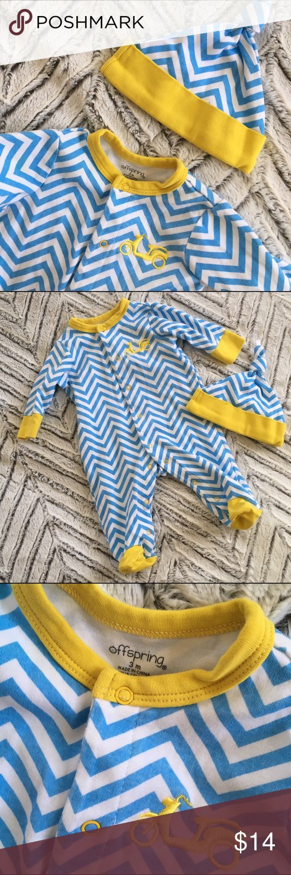 Blue Chevron Scooter Footed Romper and Hat 3m Adorable moped/scooter Embroidered blue Chevron snap footed playsuit and hat. Size 3 months. Like New condition! 2 for $15  3 for $20  4 for $25  5 for $30  ANY kids' and womens' items marked ⭕️ are eligible!  BUNDLE THEM UP > > > MAKE OFFER! Offspring One Pieces Footies