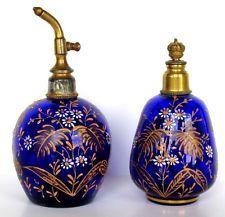 Antique Victorian Bohemian Moser Perfume Sprinkler & Atomizer Cobalt RARE Set