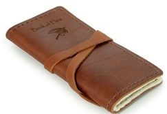 Personalized Personalized Leather Fly Fishing Case - Personalized Gifts / Unique Gifts Frames-Albums-Desk-Accessories Books-Journals - This handmade leather Book of Flies is a handsome way to store and organize fly-fishing flies— whether on the river or putting them away for the season. Inside the top-grain cowhide leather cover is a gray felt interior designed to hold up to 20 of your best-tied flies. It has aleather wrap closure and when open displays all your flies so you can make a…