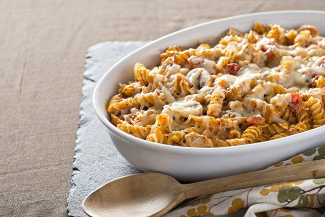 This easy, cheesy pasta bake is thick with chunks of chicken breast and a tasty mushroom-tomato combo.
