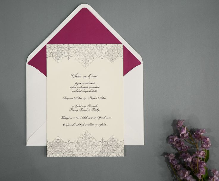 Imperial Lace wedding invitation with claret red envelope liner. http://www.daliadavetiye.com/collections/klasik-dugun-davetiyeleri/products/imperial-lace-dugun-davetiyesi