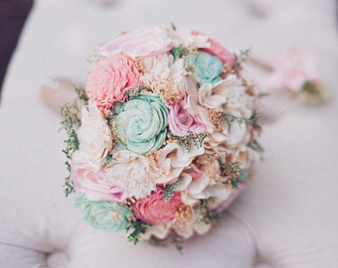 Ramo de novia romántica-colección color de rosa y menta, recuerdo alternativos Ramos, Bouquet de Sola, boda rústica