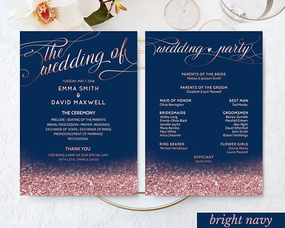Navy Wedding Decor Rose Gold Wedding Fan Program Printable
