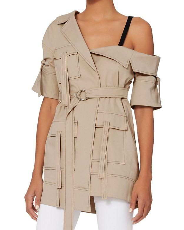 Cinq à Sept Marlowe Asymmetrical Off Shoulder Trench Jacket