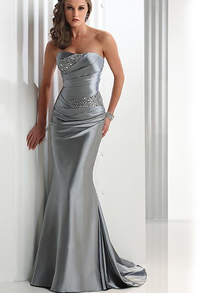 2012 New Style Beaded Taffeta Elegant Silver Strapless Evening Dress EVD045019