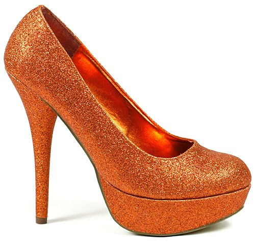 Sparkly Orange Pumps... I can't decide tacky or fun?