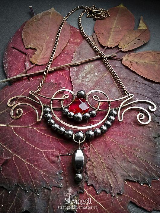 Copper pendant / Кулоны, подвески ручной работы. Ярмарка Мастеров - ручная работа. Купить Медный кулон колье с гематитом винтаж готика викторианский бордовый. Handmade.