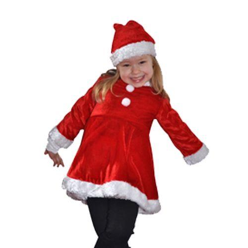 Fluwelen kerstjurk voor meisjes. Een luxe fluwelen kerstjurk met lange mouwen. Deze rood met witte satijnen jurk heeft een pluche witte afwerking aan de onderkant en de mouwen. De kerst jurk is geschikt voor kinderen van ongeveer 3/4 jaar. Kerst kostuums bij Fun en Feest #kerstjurkjes