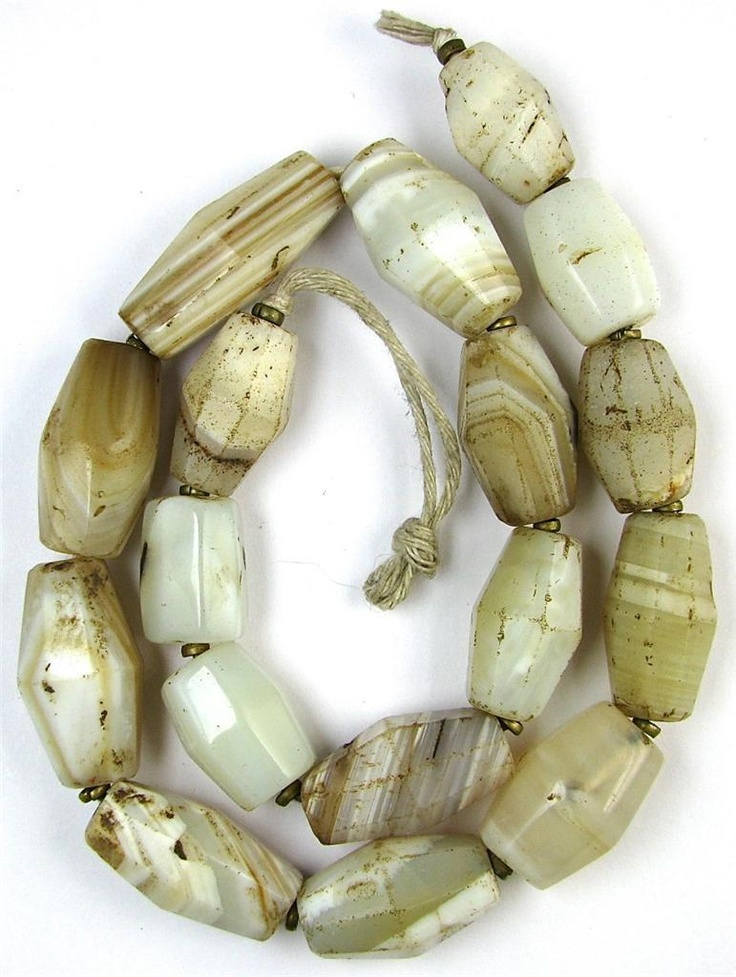 Old RARE Faceted Large White Agate Stone Mali African Trade Beads