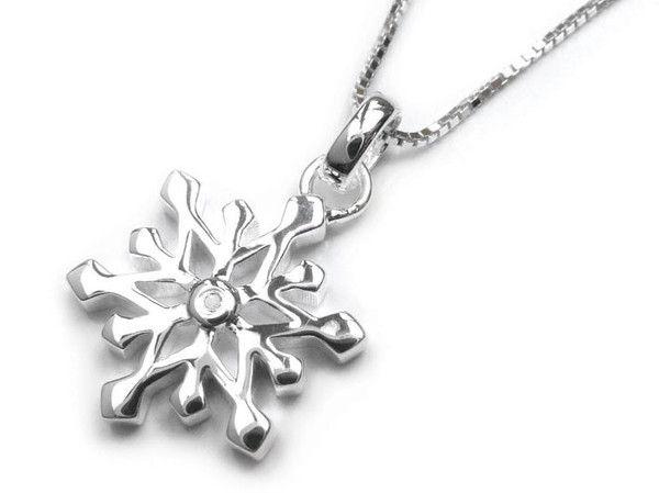 D for Diamond Silver Pendant - Snowflake