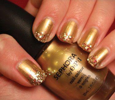 Gold + Glitter = blingNails Art, Gold Glitter, Holiday Nails, Gold Nails, Glitter Nails, Nails Polish, Glitter Tips, Glittery Nails, New Years