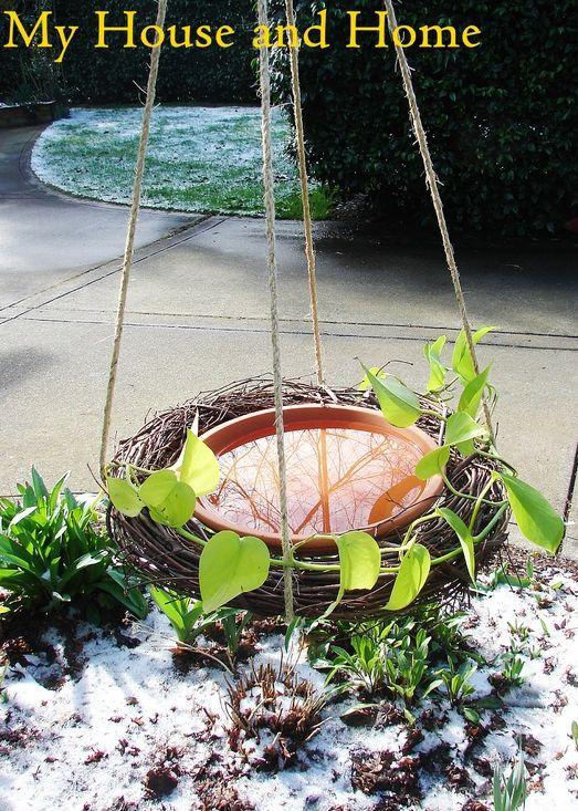 {DIY} hanging birdbath by My House and Home